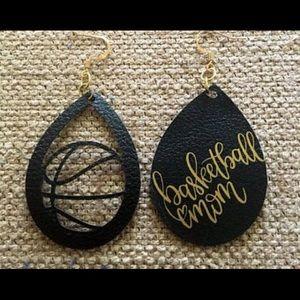 Basketball Mom Faux Leather Earrings